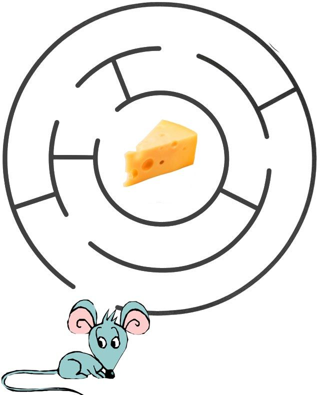 """Лабиринты для детей """"Помоги мышке добраться до сыра ..."""