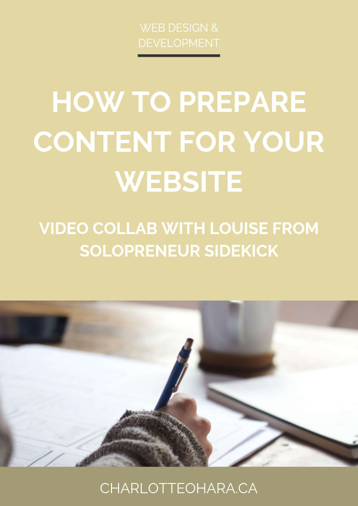 How To Prepare Content For Your Website Video Collab With Louise From Solopreneur Sidekick Website Content Online Marketing Solopreneur