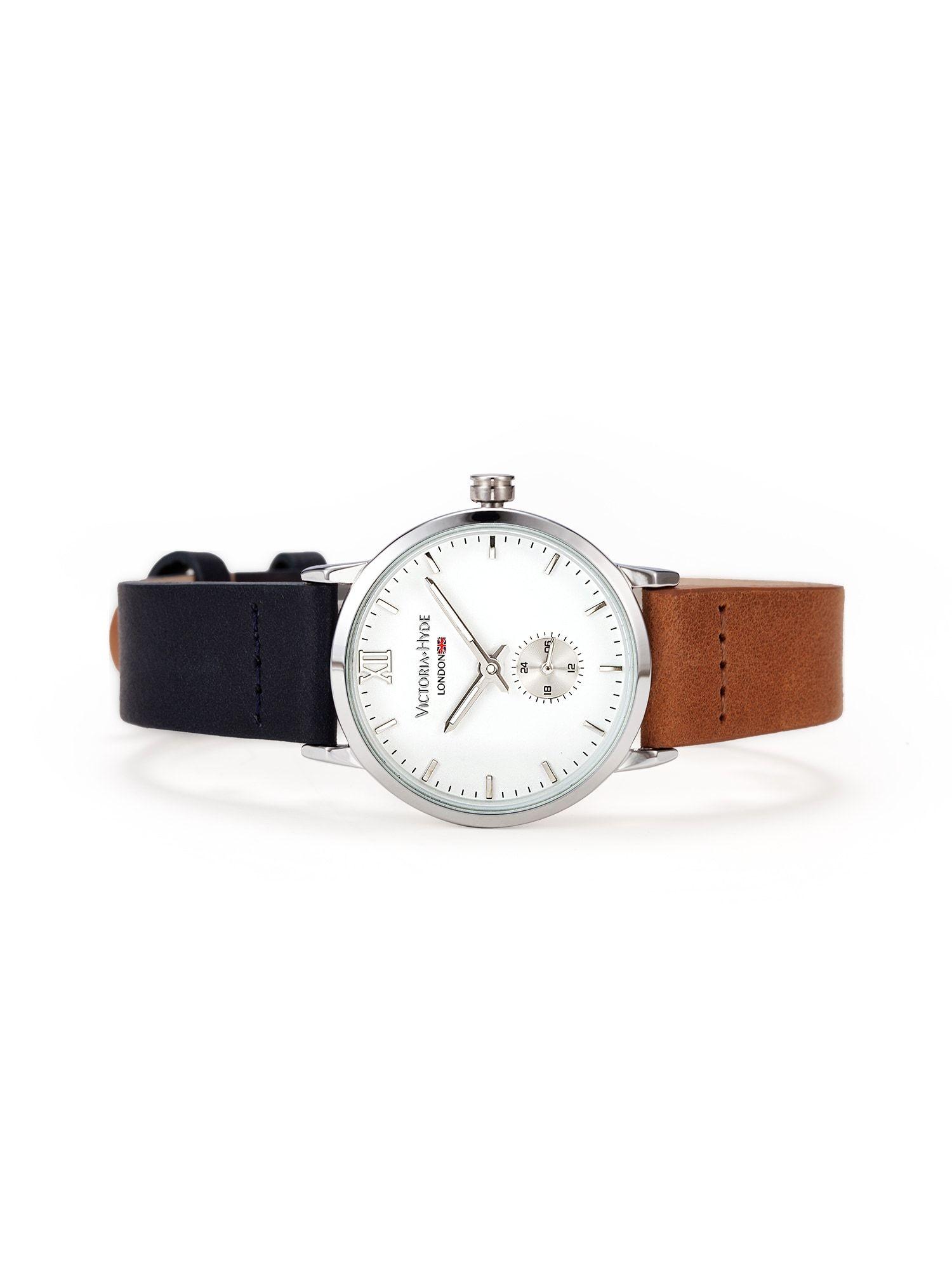 Victoria Hyde Armbanduhr Damen, Kobaltblau / Rostbraun / Silber / Weiß, Größe One Size