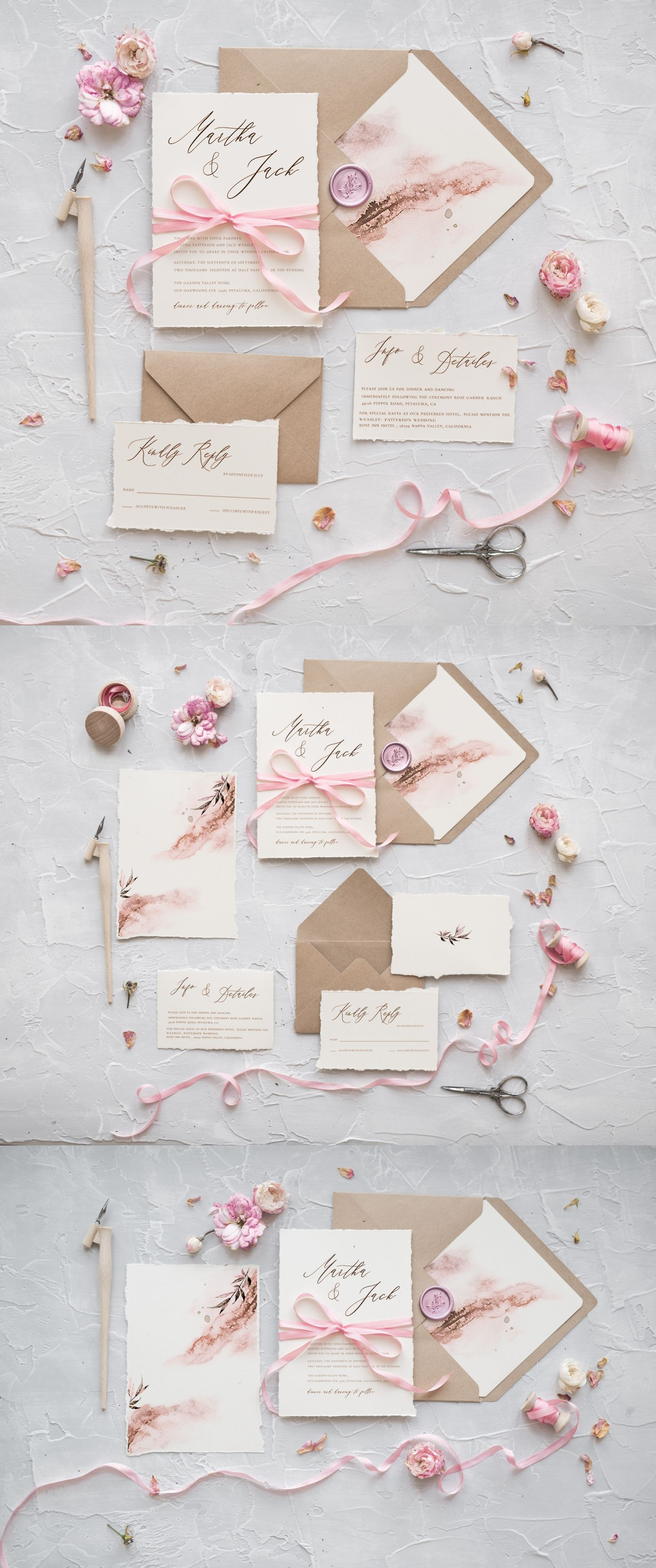 WEDDING INVITATIONS calligraphy | Pink wedding invitations, Weddings ...
