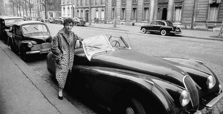 Françoise Sagan and Jaguar XK