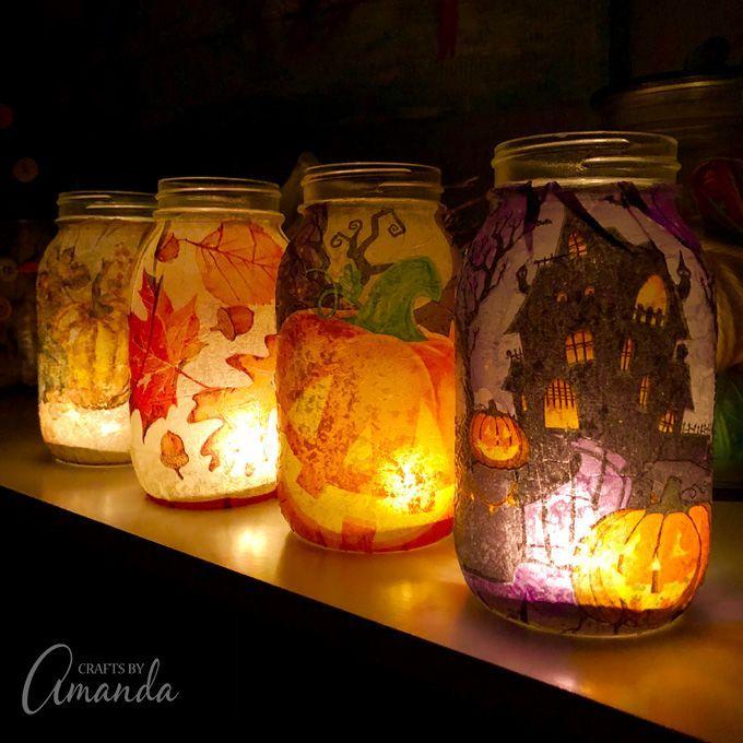 GORGEOUS!! Fall Napkin Luminaries!