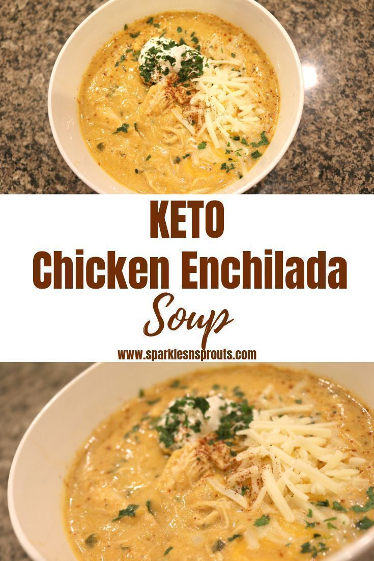 KETO Chicken Enchilada Soup is the perfect for dinner tonight.  It comes together in 30 minutes and