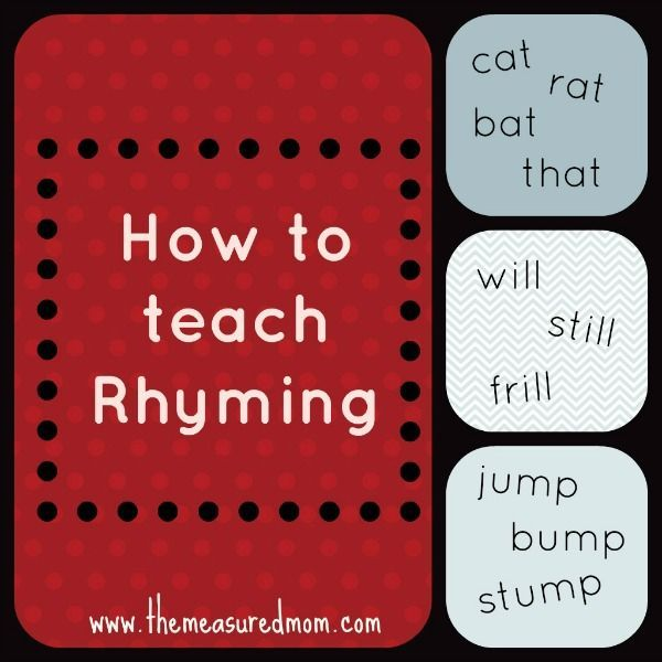 How To Teach Your Child To Rhyme The Measured Mom How To Teach Kids Rhyming Books Rhyming Activities