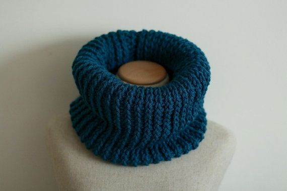 Peacock blue cowl scarf infinity scarf circle by FawnAndFolly