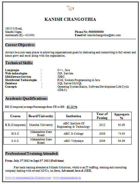 be computer science and engineering cse resume samples for freshers