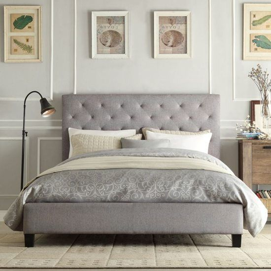 Gray Tufted Bed Frame With Images Fabric Bed Frame
