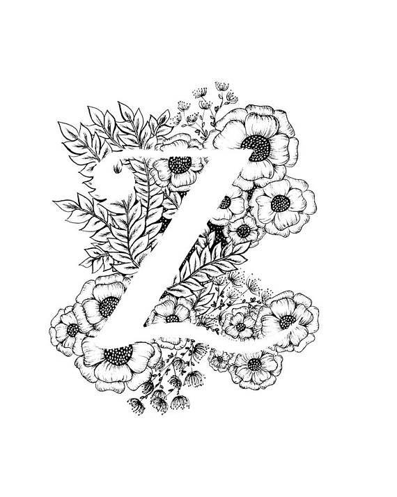 Letter Z print - Alphabet, Calligraphy, Typography, Monogram