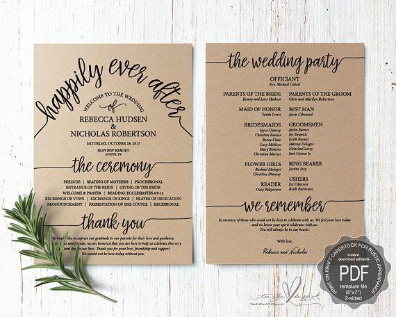 Wedding Program Pdf Card Template Instant Download Editable