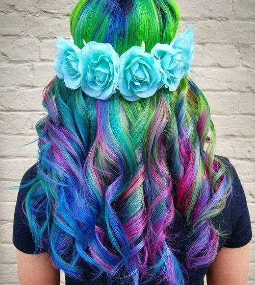 Curly Rainbow Hair With Blue Flowers Crown By Hairbyjessysilva Sofistyhairstyle Rainbow Hair Color Hair Styles Long Hair Styles