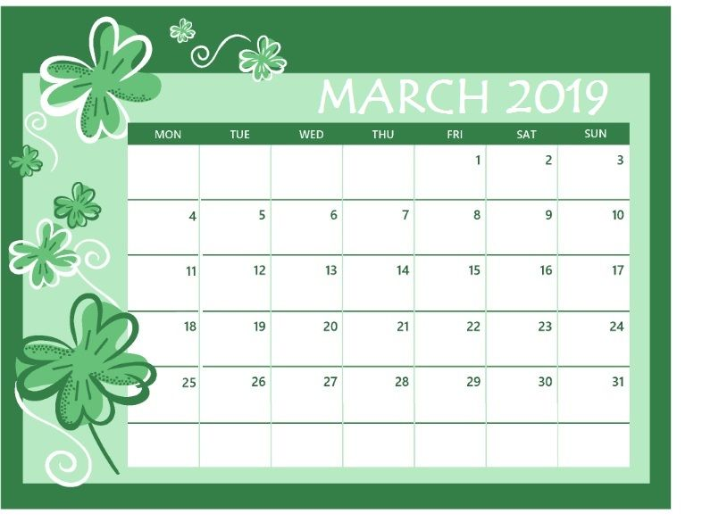 Calendar From May 2017 Through December 2019 March 2019 Colorful Calendar | 150+ March 2019 Calendar | Calendar