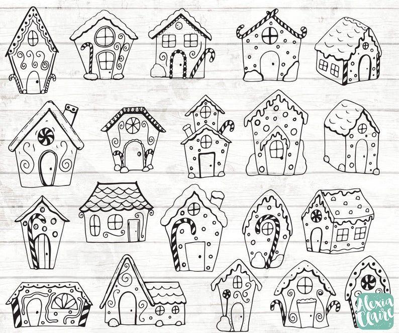 Lebkuchen Haus Clipart - Weihnachten Clipart - Weihnachten-Sticker - Lebkuchen-Illustrationen - Weihnachten PNG - Essen - BW160