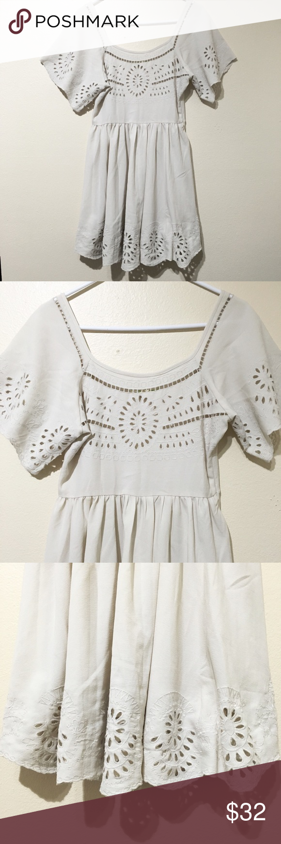 Staring at Stars Beige Floral Eyelet Peasant Dress From urban outfitters size 4 worn once Urban Outfitters Dresses