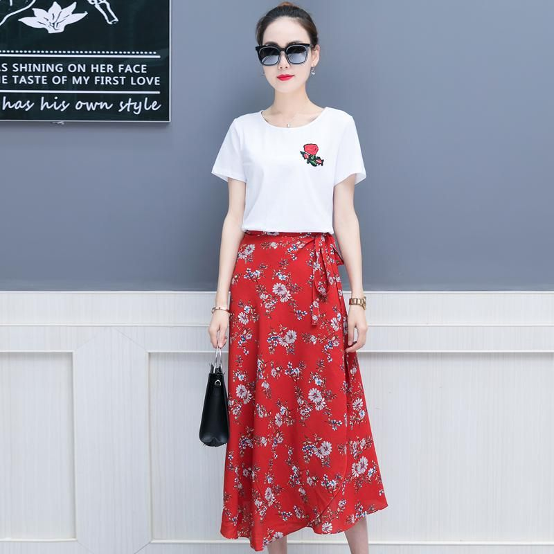 a4d3e4541 New summer wear women's clothing set korean fashion chiffon skirt two-piece  outfit floral skirts white t shirt o neck lady kit. Yesterday's price: US  $33.88 ...
