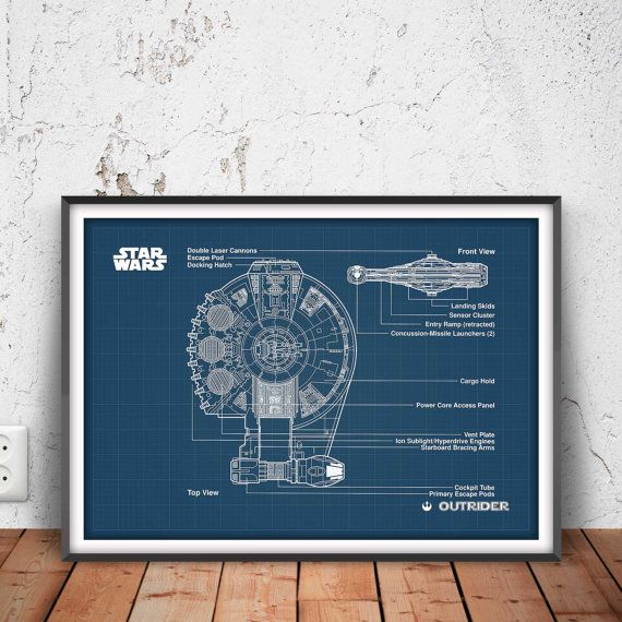 OUTRIDER star wars poster space ship blueprint space by PrintPoint