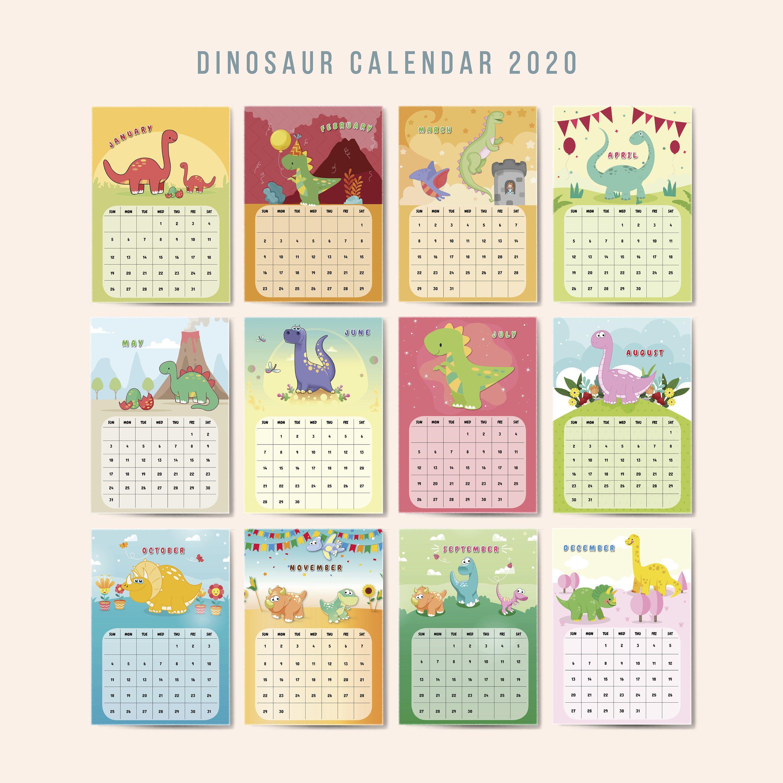 Printable Calendar 2021 Wall Calendarmonthly Agendadinosaur Etsy Printable Calendar Calendar 2020 Printable Calendar 2020