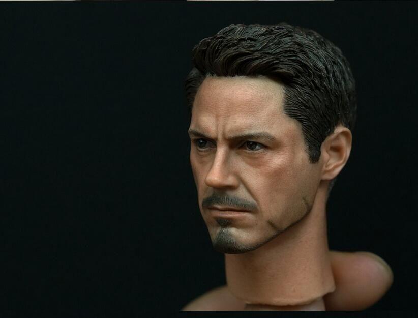 1//6 Custom Scale Tony Stark Robert Downey Jr Head Sculpt For Hot Toys Body