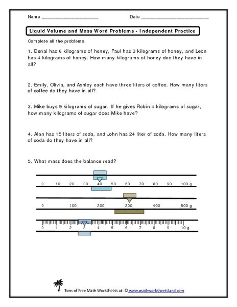 Liquid Volume And Mass Word Problems Worksheet | Lesson Planet