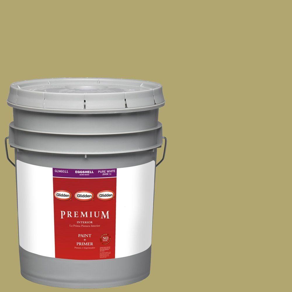 Glidden Premium 5-gal. #HDGG08 Spanish Olive Eggshell Latex Interior Paint with Primer