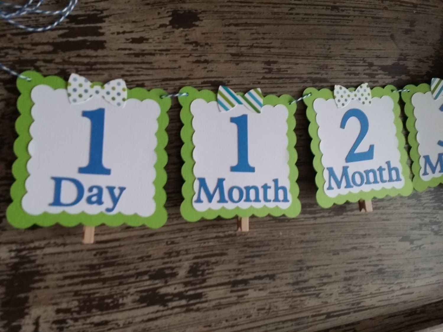 12 Month ~ First Year ~ Picture Banner ~ Little Man ~ Bow Tie ~ Blue & Lime Green by DKDeleKtables on Etsy