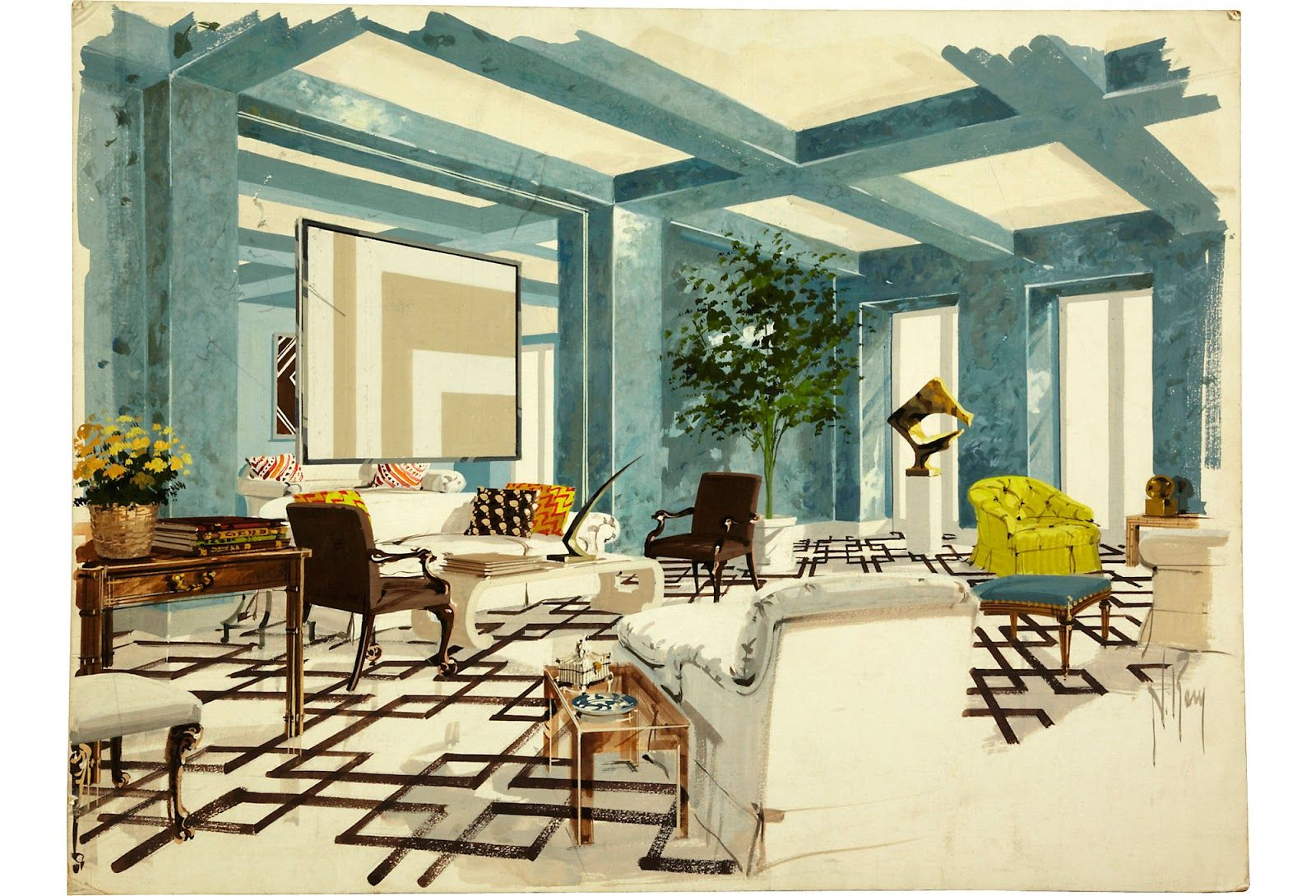 Materials and furniture stage of an interior project in ...  |Interior Design Color Sketches