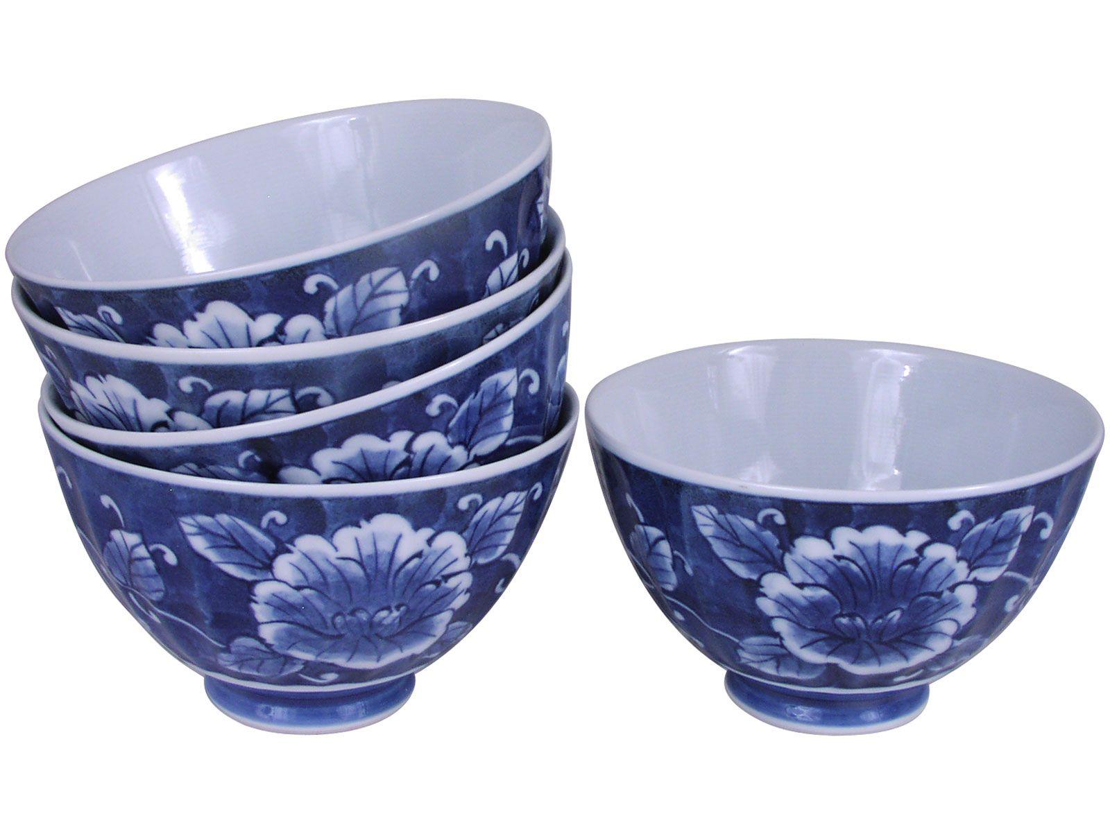 Crowning Peony Porcelain Rice Bowl Set For Five Japanese Rice Bowl Bowl Bowl Set