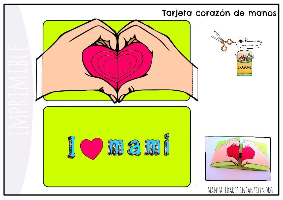 Tarjeta de manos con forma de corazón   Formas de corazón, Día de la ...