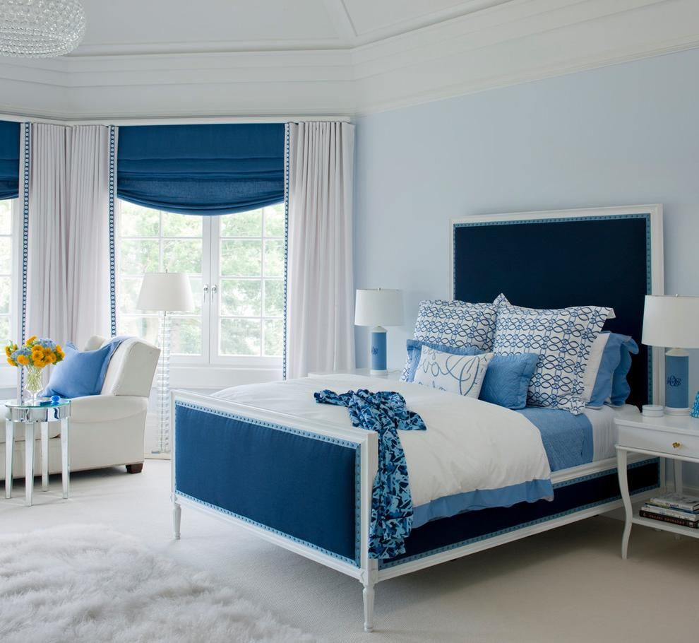 Rustic Blue Teenage Girl Room Design With Elegant Blue Headboard As Well  Soft Blue Painting Wall