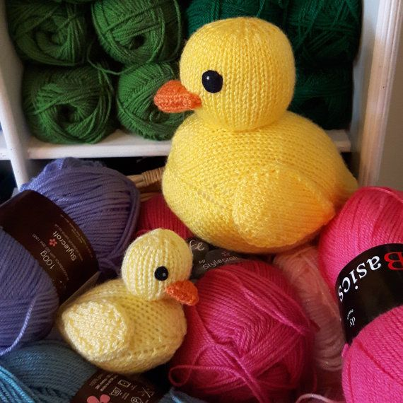 Rubber Ducks Knitting Pattern Pdf Cute Rubber Duckies Etsy Knit Duck Pattern Knitting Patterns Knit Duck