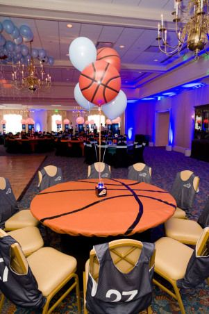 High Quality We Love The Idea Of This Basketball And Soccer Themed Bar Mitzvah In The  USA! Football Party Table DecorationsSports ...