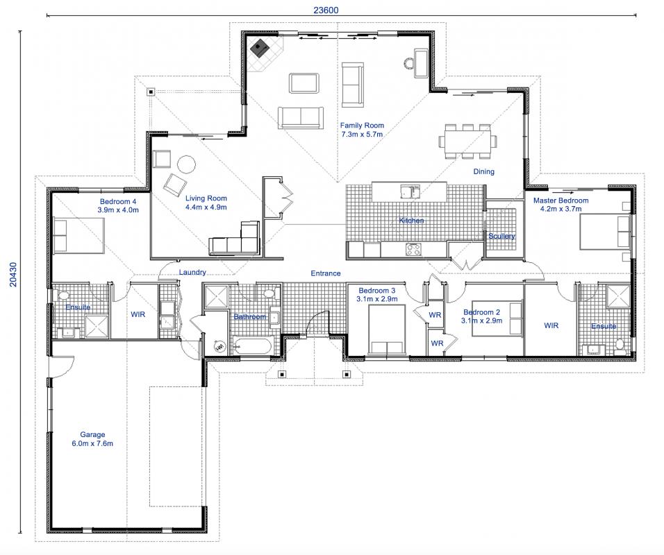 Taranaki 4 Bedroom, 3 Bathroom House Plan Latitude