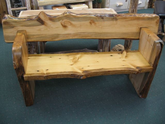 Outdoor Slab Pine Benches With Backs   Sisters Log Furniture