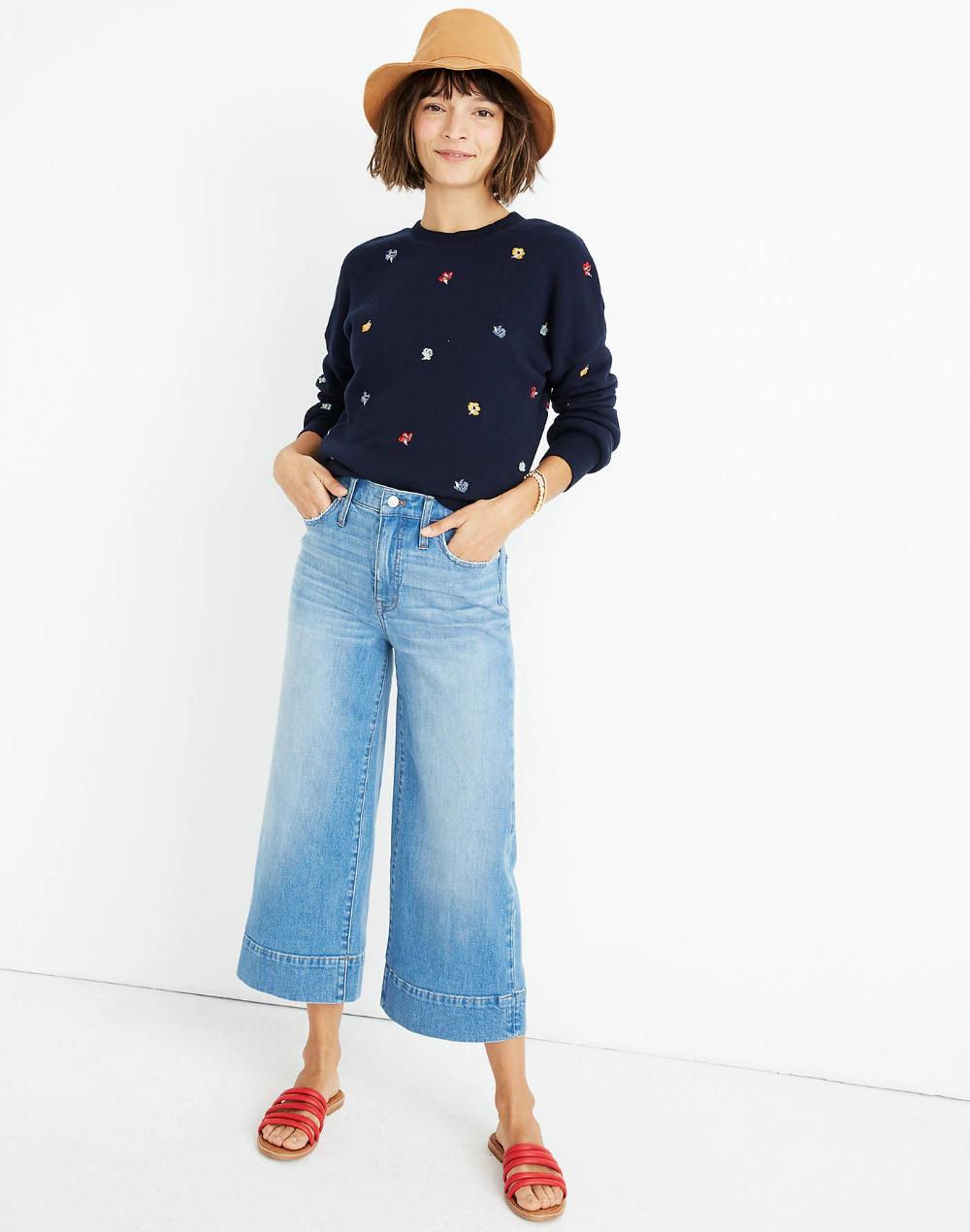 047bdc632 Wide-Leg Crop Jeans in Delancey Wash