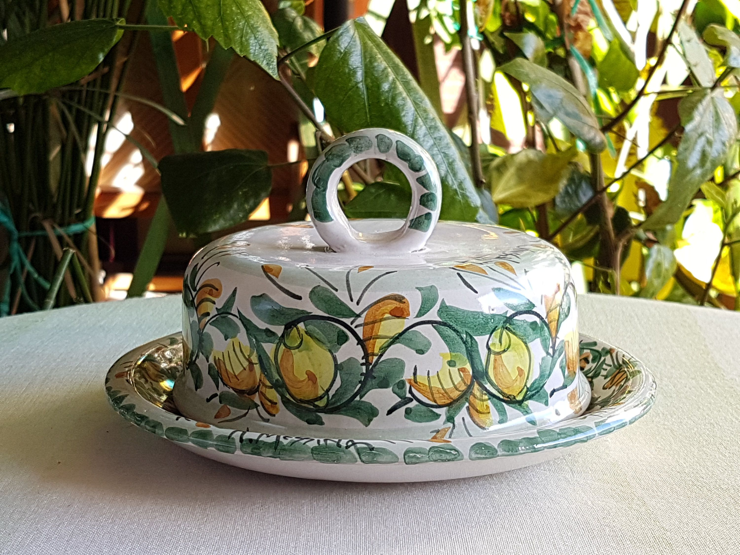 Sicilian ceramic butter dish. round ceramic butter dish decorated by