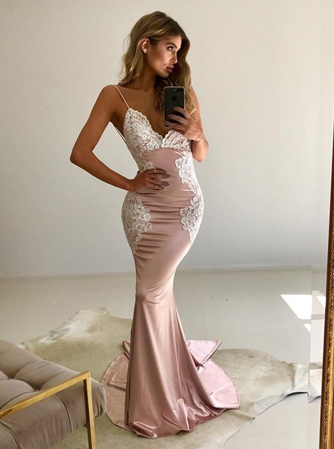 Mermaid Spaghetti Straps Backless Sweep Train Pink Prom Dress with Lace K0840
