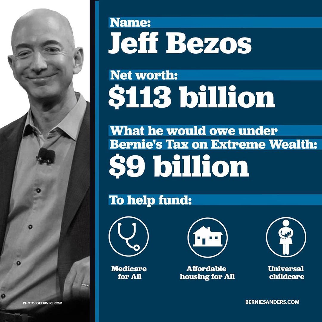 Bernie Sanders On Instagram Jeff Bezos Makes More Money In 10 Seconds Than The Average Amazon Worker Makes In A Year We Re Going To Tax His Extreme Wealth An