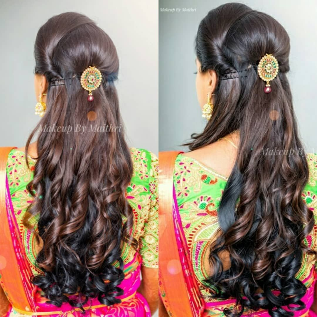 Makeup By Maithri On Instagram Deepashree S Hairstyle For Her Reception In 2020 Hair Styles Braided Hairstyles For Wedding Bridal Hairstyle For Reception