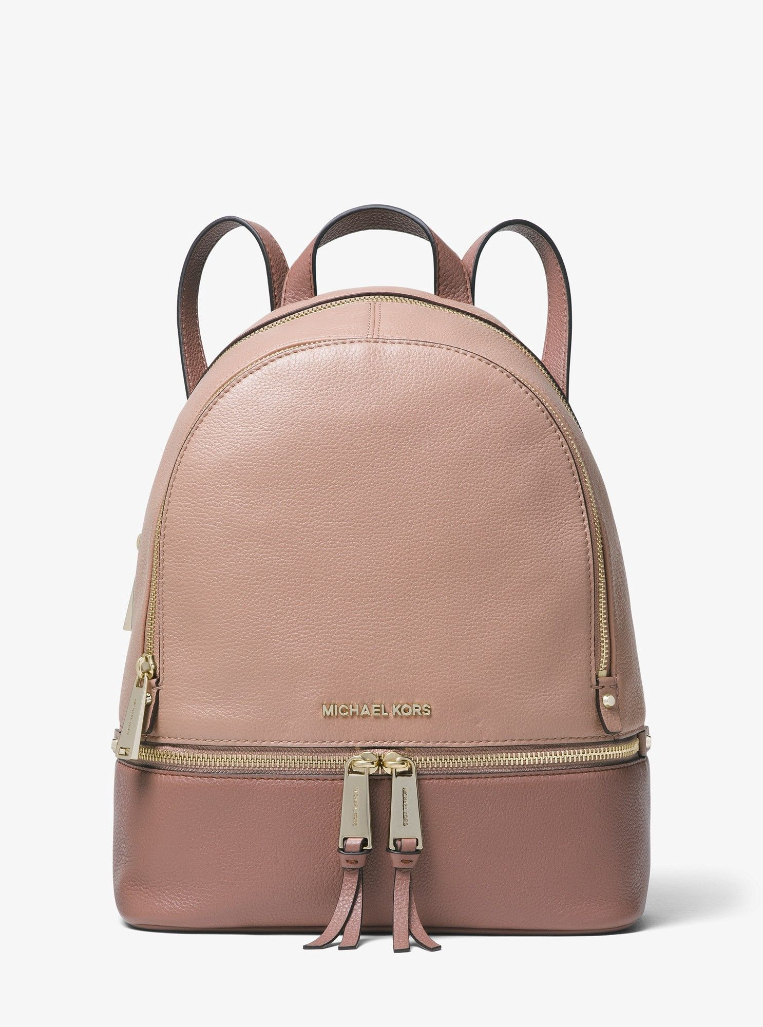 1a7917e942d2 Michael Kors Rhea Medium Color-Block Pebbled Leather Backpack - Fawn Dstyrse