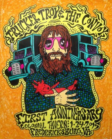 Trucker Troy & The Convoy first anniversary concert flier.