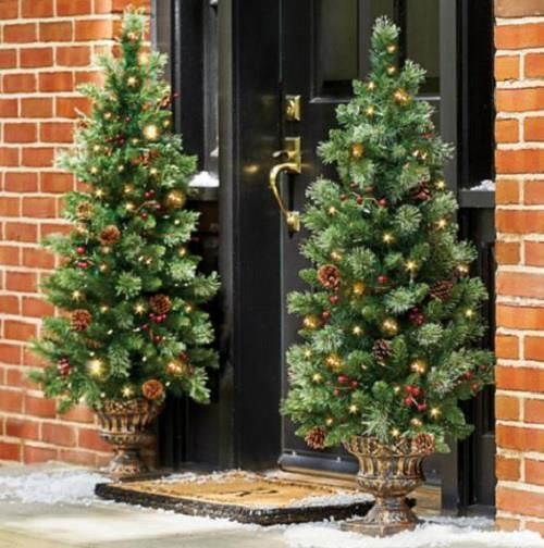 4 lighted pre lit cordless christmas porch tree topiary entryway 4 lighted pre lit cordless christmas porch tree topiary entryway outdoor decor workwithnaturefo