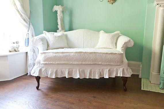 Shabby Chic Loveseat White Slipcover Vintage Mattelasse
