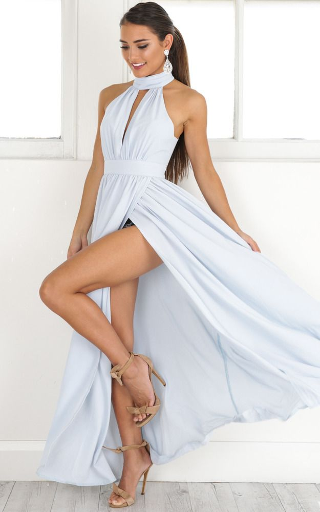 Showpo Twilight Star maxi dress in pale blue - 20 (XXXXL) Occasion ...