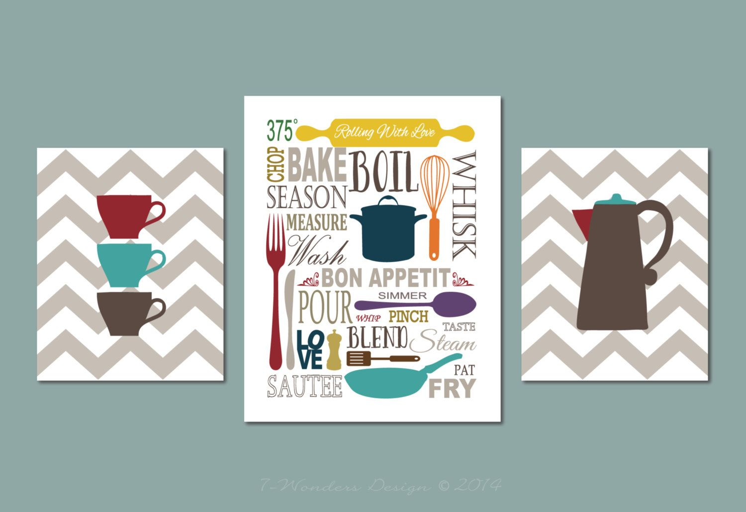 Kitchen Art Prints Subway Style with Zig Zags by 7WondersDesign ...