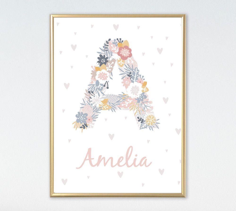 Digitaldruck POSTER Name Buchstabe Blumen