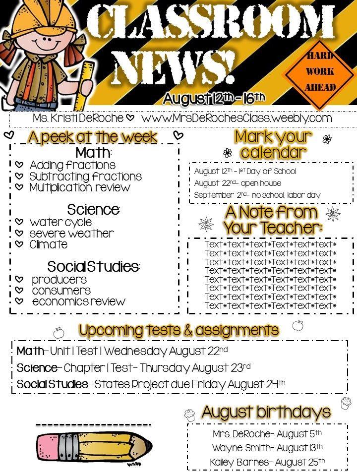 Classroom Newsletter Editable Construction 2017 2018 Classroom
