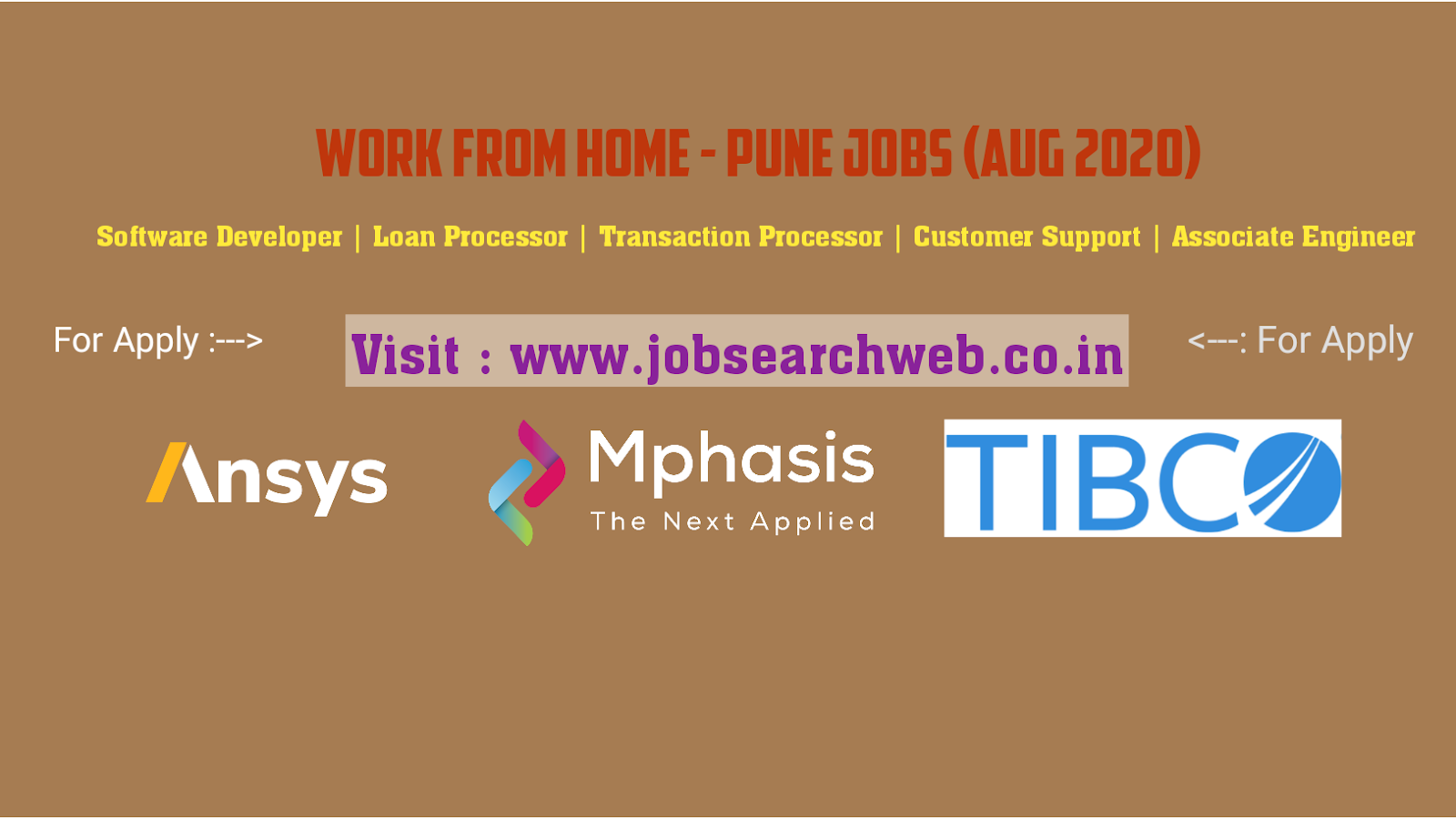 Work From Home Ansys Mphasis TIBCO is hiring Software