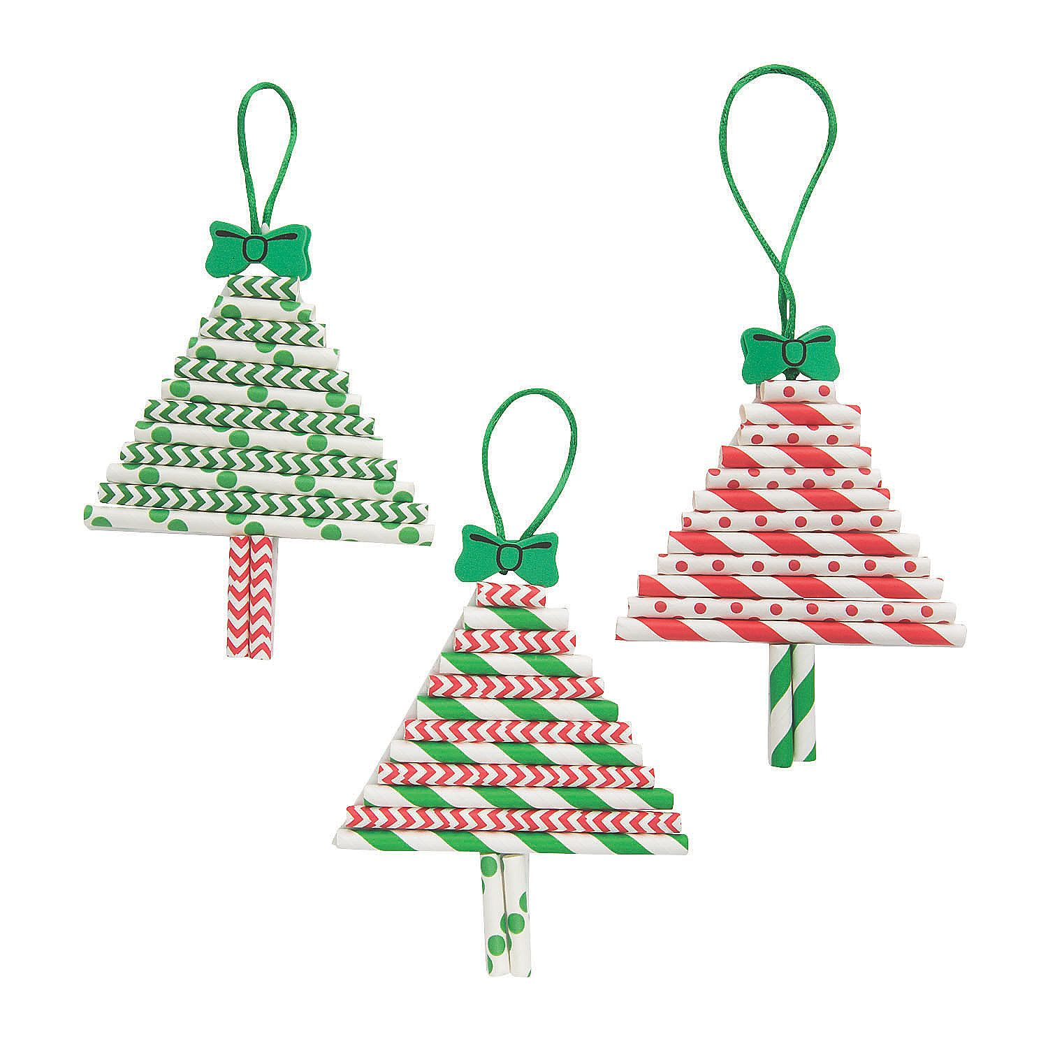 Paper Straw Christmas Tree Ornament Craft Kit Oriental Trading In 2020 Christmas Tree Ornament Crafts Christmas Ornament Crafts Ornament Crafts