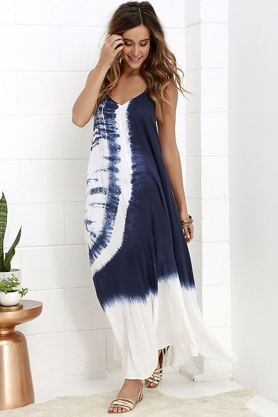 98953309f74 You ll blend right in with your tropical surroundings as you stroll along  your vacation vessel in the Caribbean Cruise Ivory and Navy Blue Tie-Dye  Maxi ...