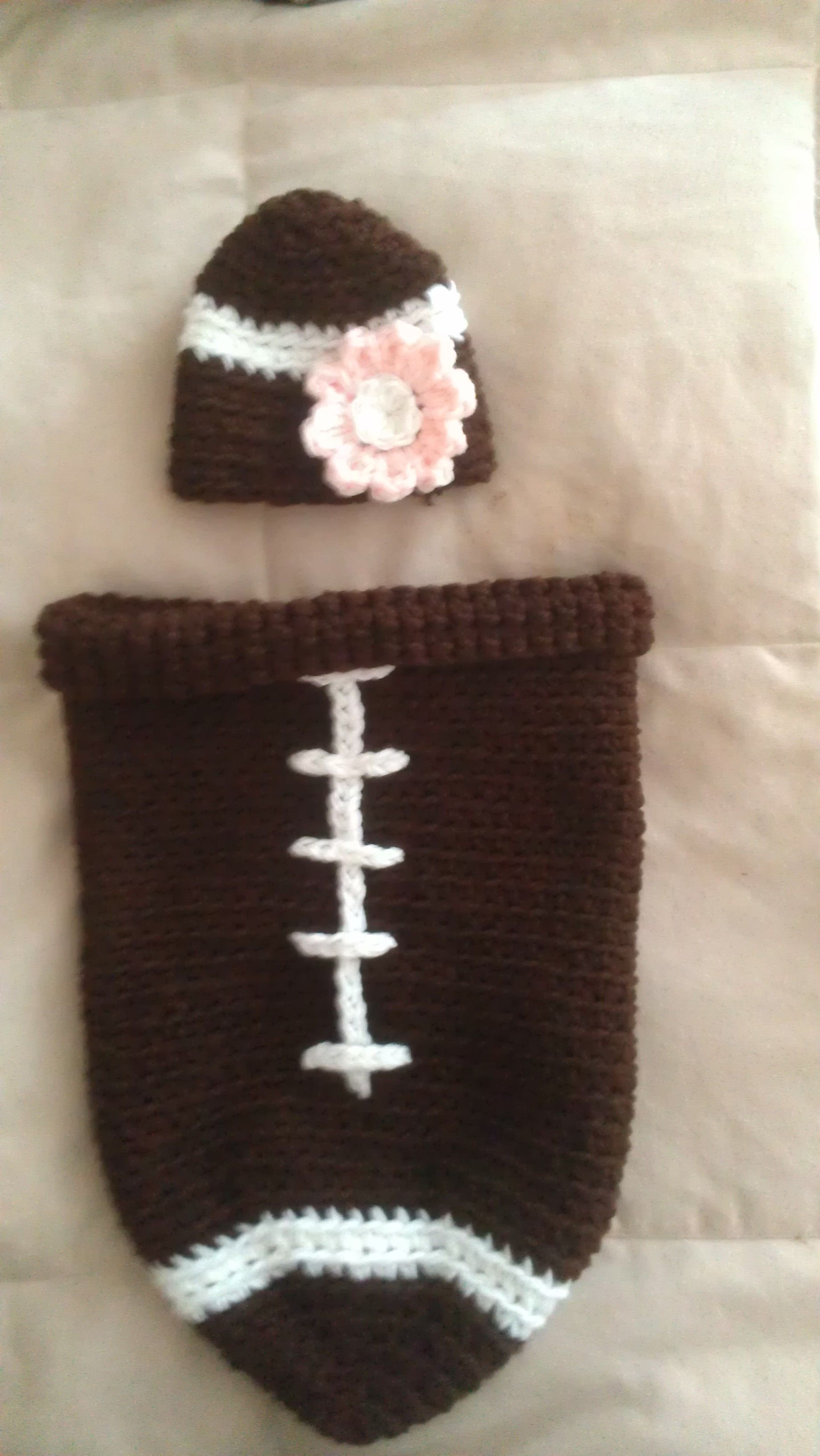 Crocheted Football Cocoon..... This is made with the pattern that ...