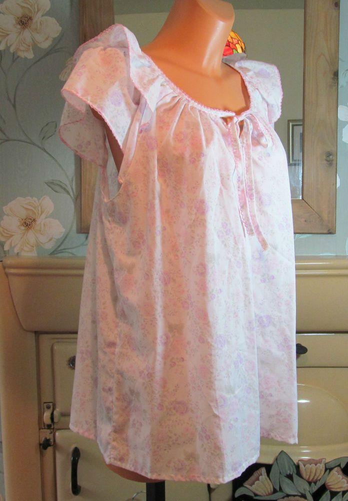 Vtg multi floral frilly sissy babydoll peignoir nightie gown XL/XXL ...